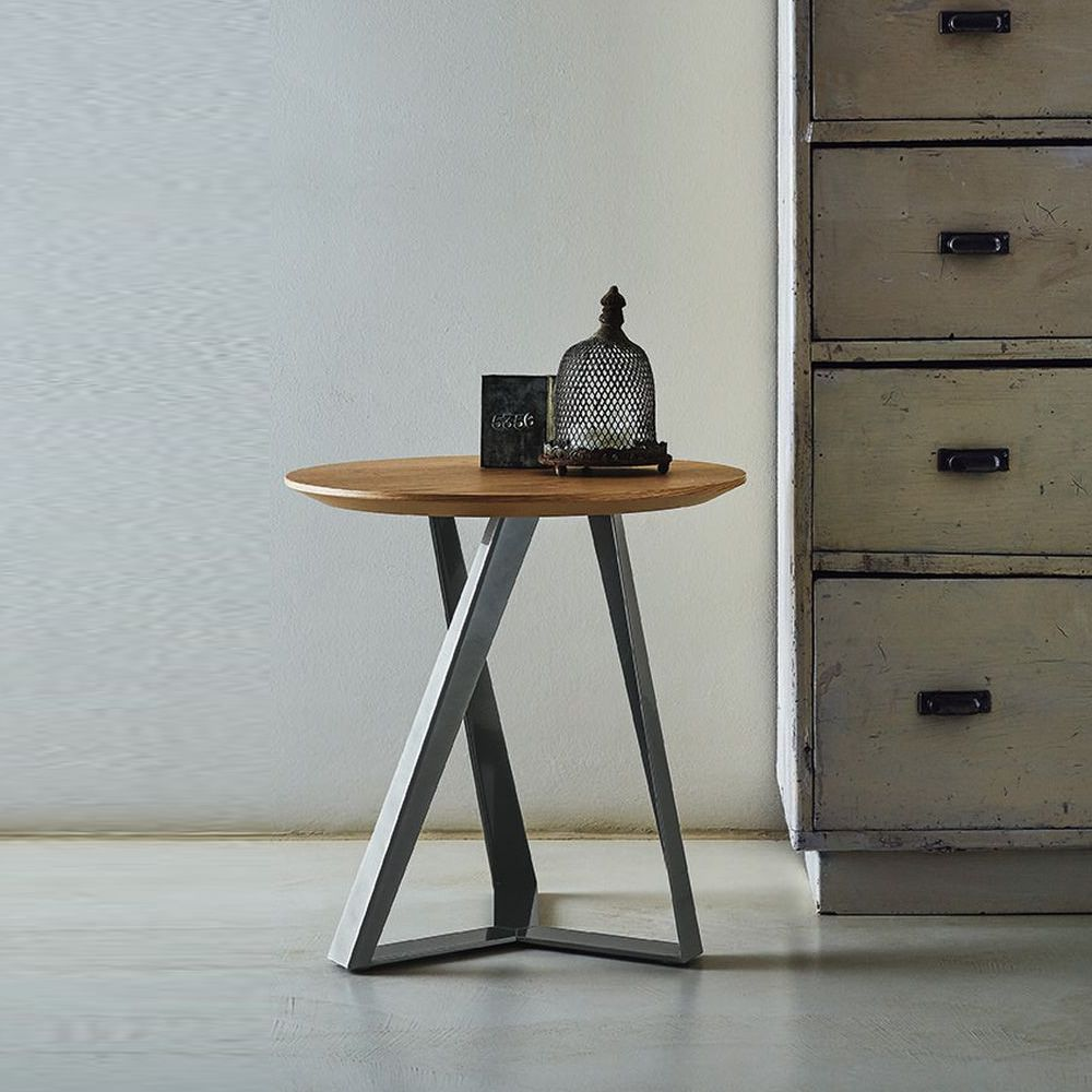 Bontempi coffee table in natural silver, natural oak top