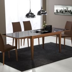CB4702-V 130 Fly - Connubia - Calligaris extendable wooden table, with glass top, 130 x 90 cm