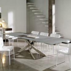 Artistico Glass Ext - Design table Bontempi Casa, extendible 160(240)x90cm, with metal central base and glass top, available in different colours