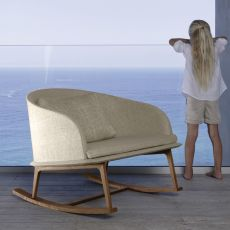Cleo D - Rocking armchair for outdoor, removable covering, available in several colours