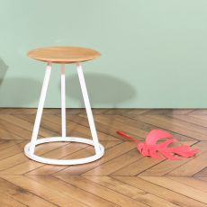 Petit Gustave - Design stool in metal and wood, seat height of 45 cm