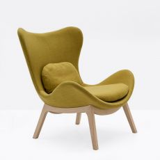 CS3373-W 1310 Lazy - Calligaris wooden armchair, with padded seat