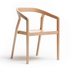 One - Ton chair in wood, with armrests, stackable, wooden or padded seat