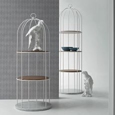 Tweet 7245 - Tonin Casa bookcase made of metal with wooden shelves and marble base