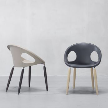 Natural Drop 2826 - Design armchair in wood, technopolymer seat