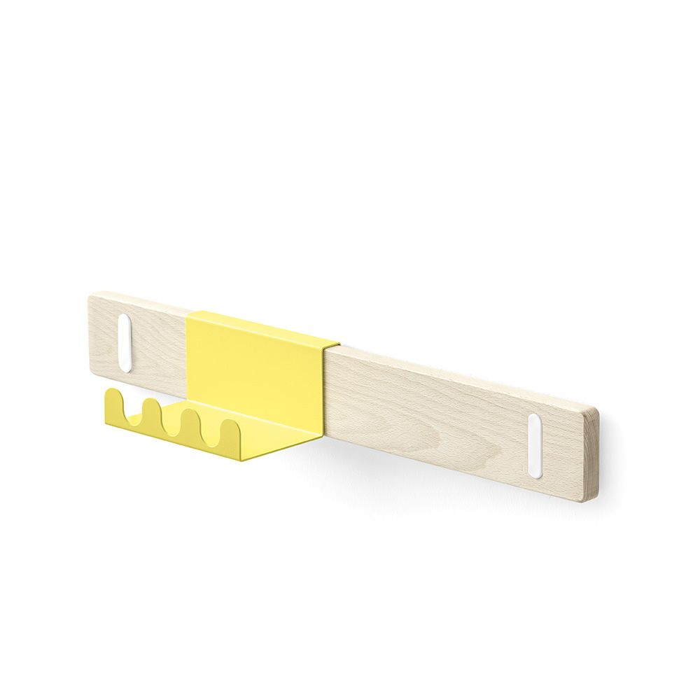 Connubia wooden shelf with metal hooks, yellow colour