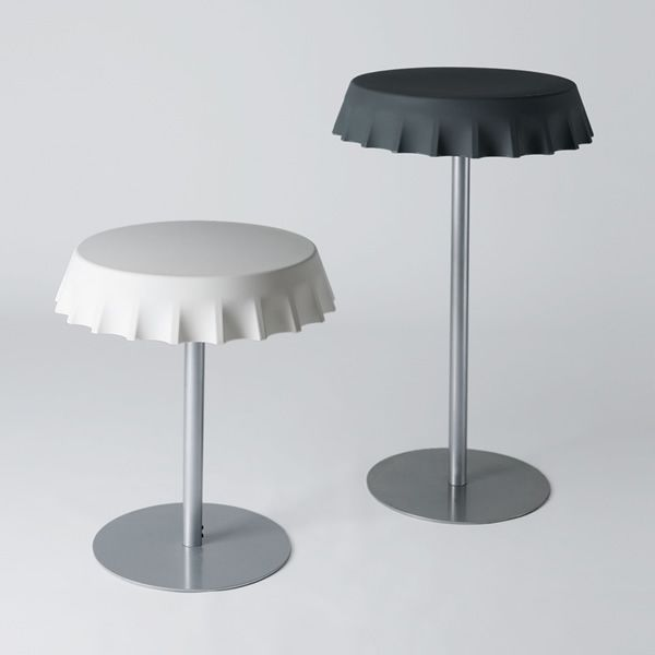 Metal table with polyethylene top, white and black colours, two different heights available