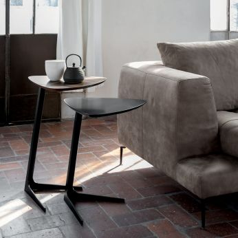 Celine 6021 - Side table made of black lacquered metal with wooden top, different finishes and sizes available