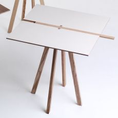 Binario - Valsecchi fixed table made of wood, different finishes available, square top 70 x 70 cm