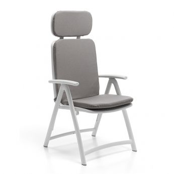 Acquamarina - Polypropylene armchair in white colour, with grey cushion