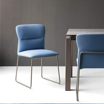 CB1806 Frida - Chair with dove-grey varnished metal frame and seat covered with imitation leather in sky blue colour