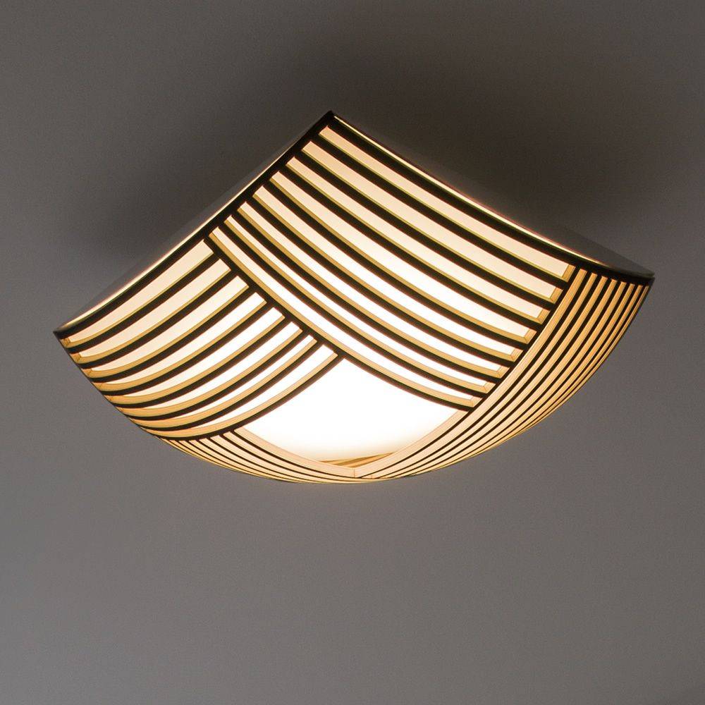 Wall or ceiling lamp in wood and metal