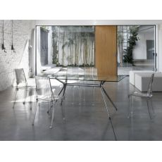 Metropolis 2407 - Design table with metal structure and rectangular glass top 180x90 cm