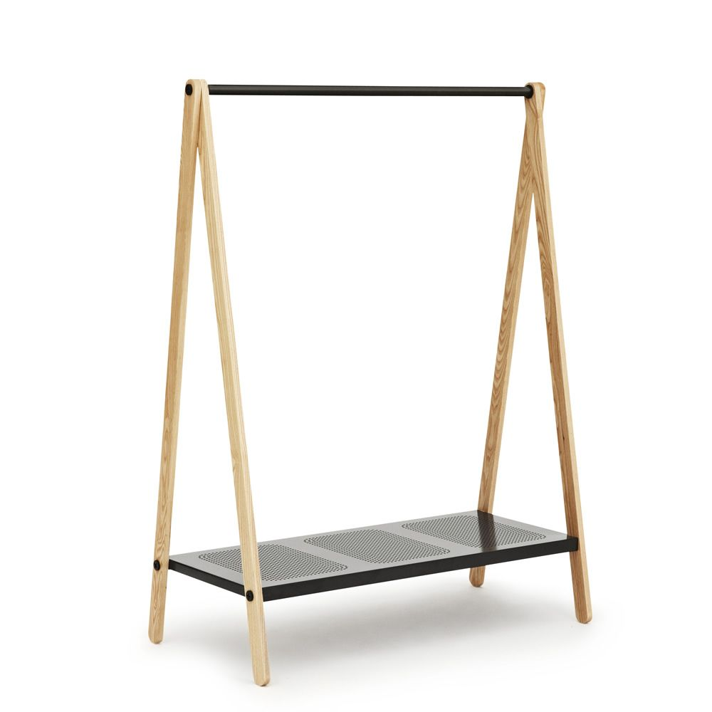 Clothes rack made of ash wood, shelf and clothes bar closet in grey varnished steel (size: L)