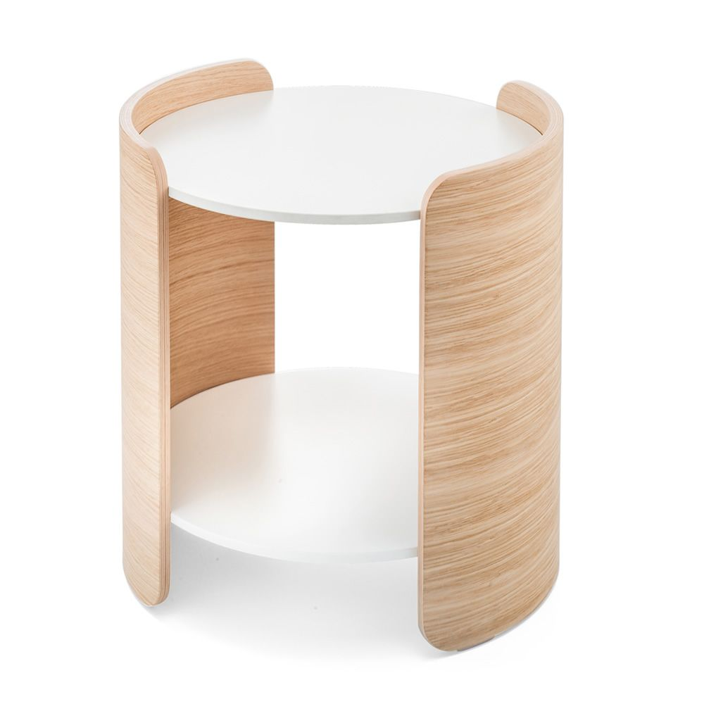 Low design table in whitened oak wood, height 45 cm